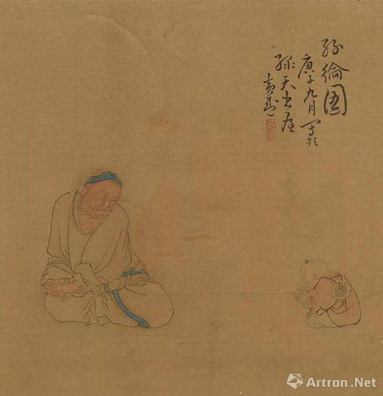 人物图册》之《丝纶图》 天津博物馆藏