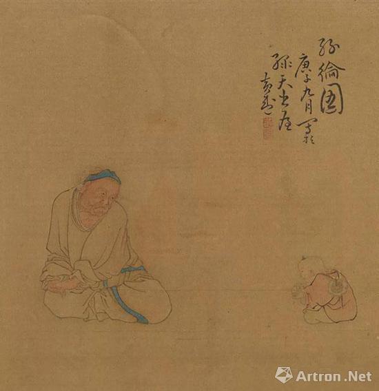 黄慎《人物图册》之《丝纶图》 天津博物馆藏