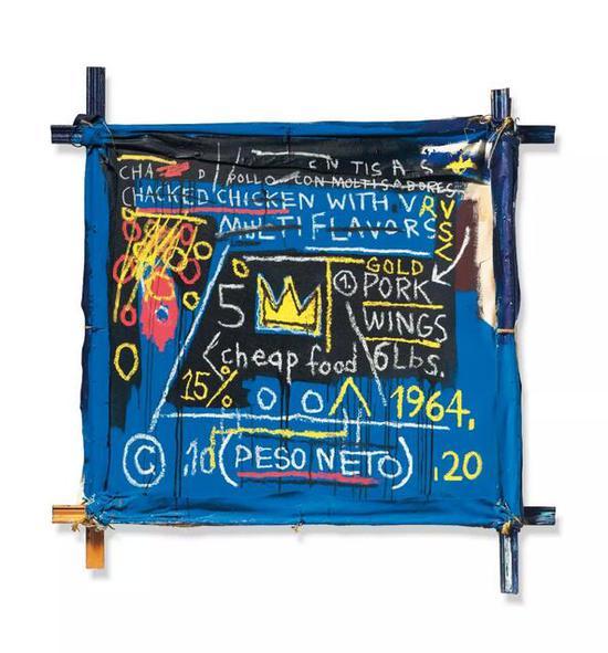 让-米歇尔-巴斯奎特 (1960-1988)   《多脾胃》   压克力 油彩棒儿子 画布匹 绵软木顶顶   153.7 x 154.5 cm。   1982年干   估价:英镑 10,000,000 - 15,000,000
