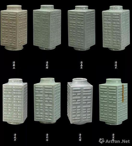 清雍正至宣统仿哥釉八卦纹琮式瓶(一组)故宫博物院藏