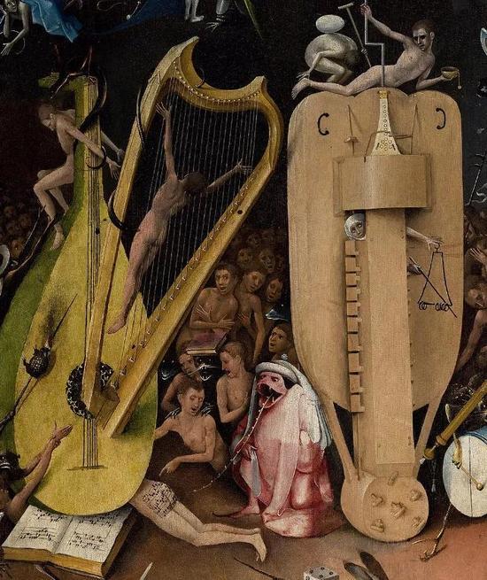 地狱中堆叠在一起的巨型乐器。只不过,在博斯的地狱里,它们看上去更像刑具。