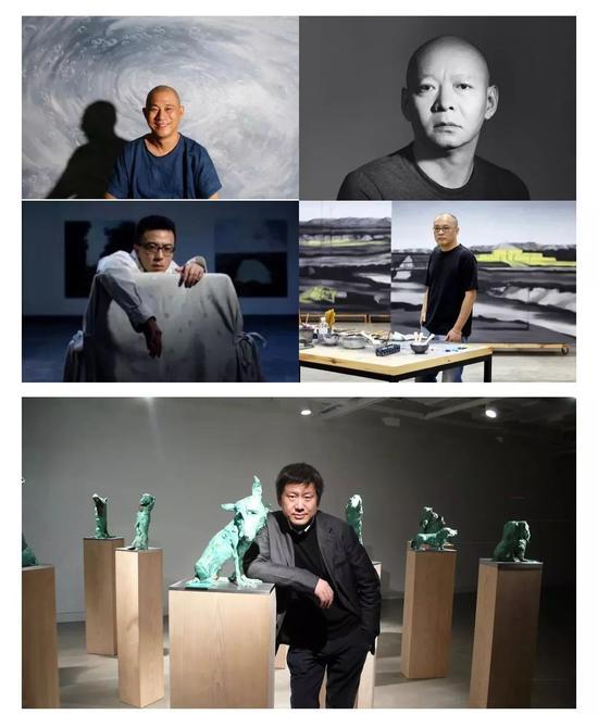 依次为当代艺术家方力钧、岳敏君、刘小东、张晓刚、周春芽