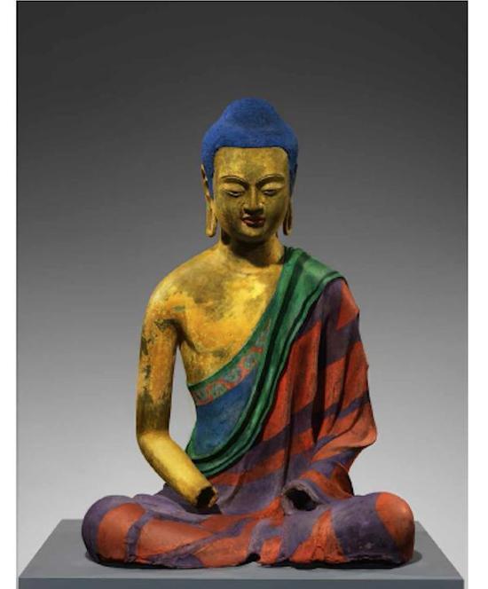 着色后的佛陀雕塑,唐代,7世纪初,带有颜料和镀金的空芯漆佛,纽约大都会艺术博物馆,罗杰斯基金