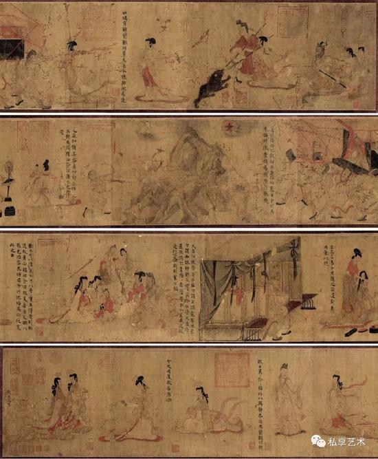 顾恺之《女史箴图》,现存有唐代摹本,绢本设色,现收藏于大英博物馆