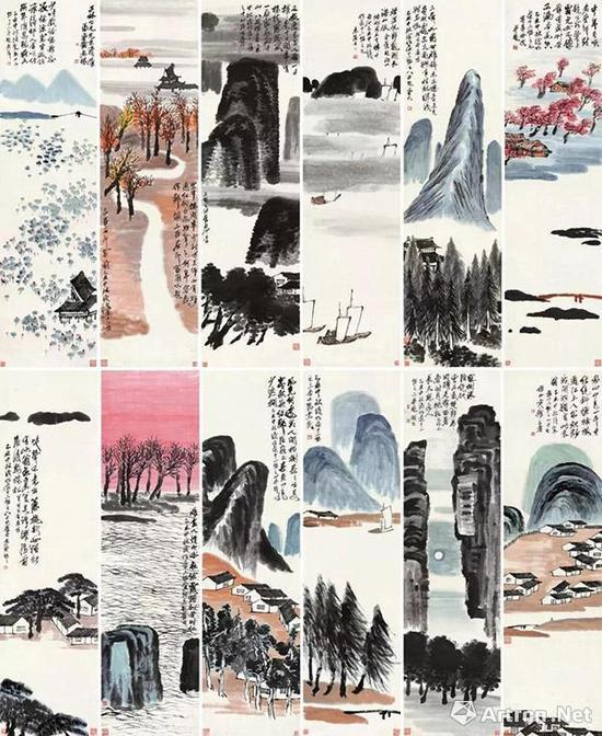 齐白石 《山水十二屏》 9.315亿 北京保利2017年秋拍