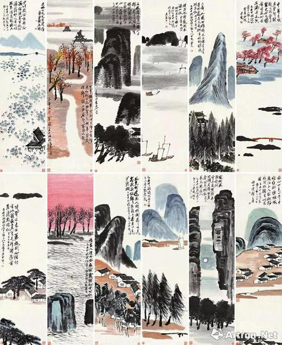 """在2017年12月北京保利史无前例的""""震古烁今""""专场中,齐白石的《山水十二条屏》打破了由其自己保持的亚洲艺术作品的纪录"""