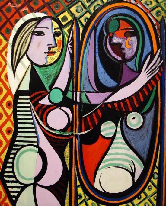 《镜前少女》(Girl Before a Mirror),1932年,毕加索