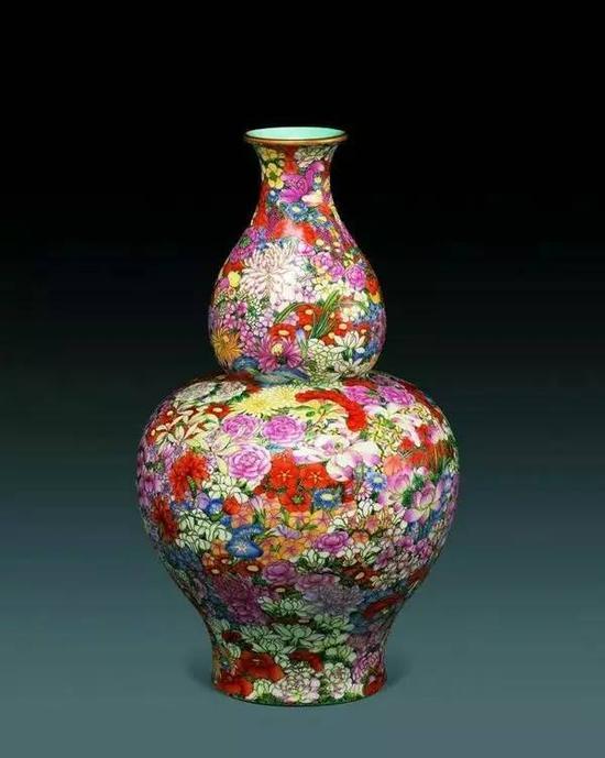 粉彩百花图葫芦瓶