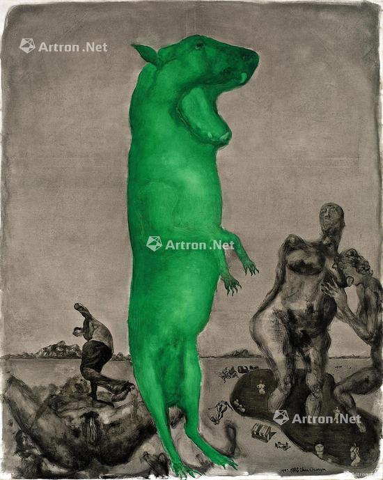 """周春芽早期5张""""绿狗""""之第二号《月下情人》,2011年曾在保利拍出977.5万元,但在2015年再度于苏富比出现,仅拍得608万港元"""