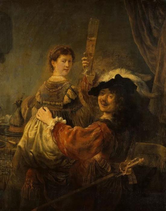 伦勃朗与莎斯姬亚的自画像1635
