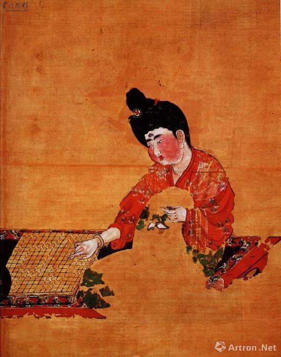 唐《弈棋仕女图》绢本设色 62.3厘米横54.2厘米