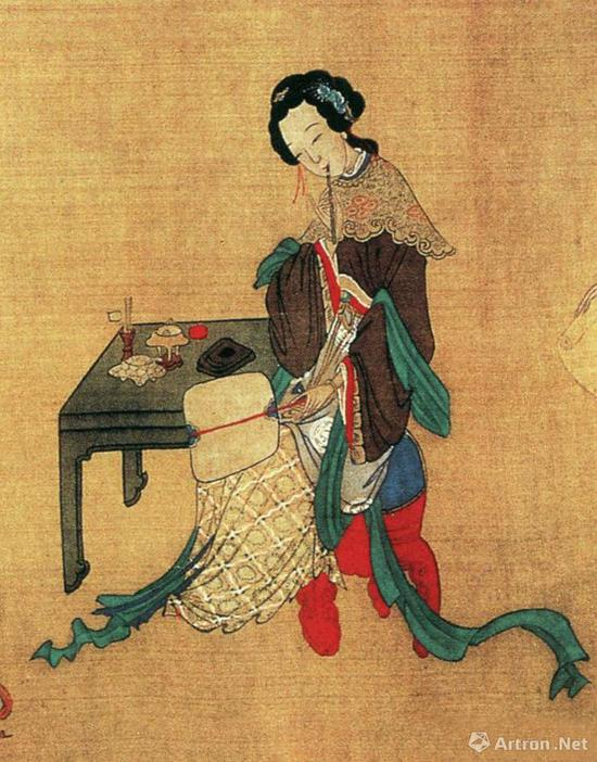 仇英《千秋绝艳图》局部:中国古代美女之东汉才女班昭