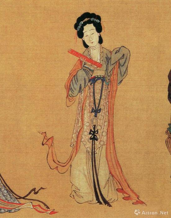 仇英《千秋绝艳图》局部:中国古代美女只南齐钱塘第一名伎苏小小