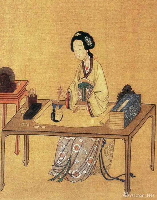 仇英《千秋绝艳图》局部:中国古代美女之唐代女诗人和名妓薛姬