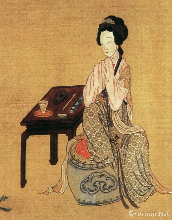 仇英《千秋绝艳图》局部:中国古代美女隋代女诗人张碧兰