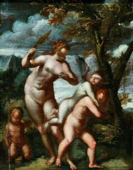 Agostino Carracci Venus Chastising Cupid