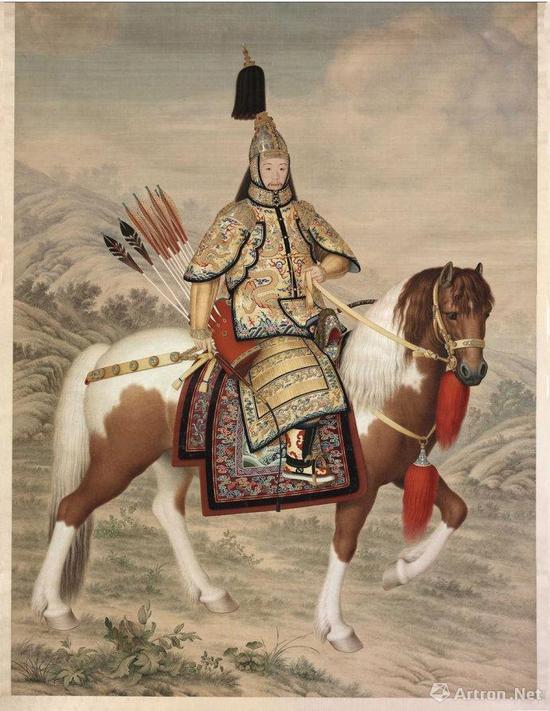 郎世宁《乾隆皇帝大阅图》轴(北京故宫博物院藏)