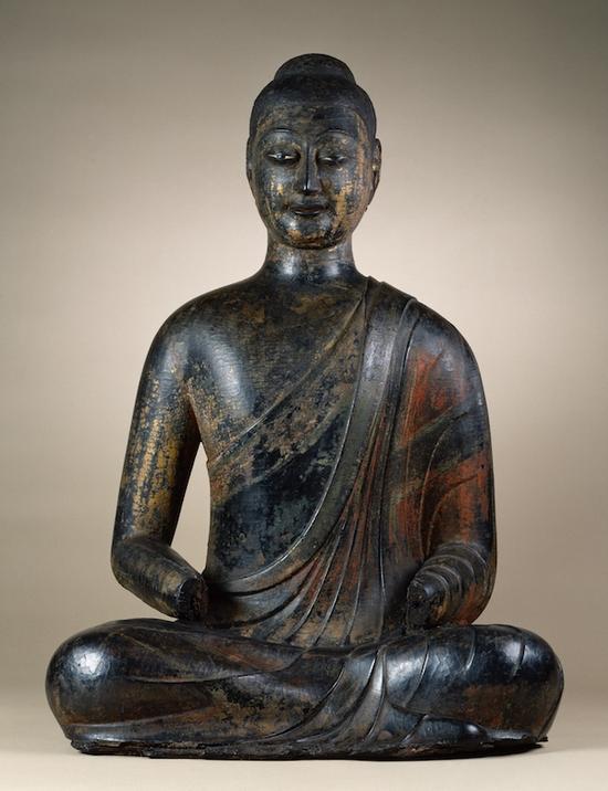 隋朝,约580-90,用颜料的木芯漆佛,沃尔特斯艺术博物馆