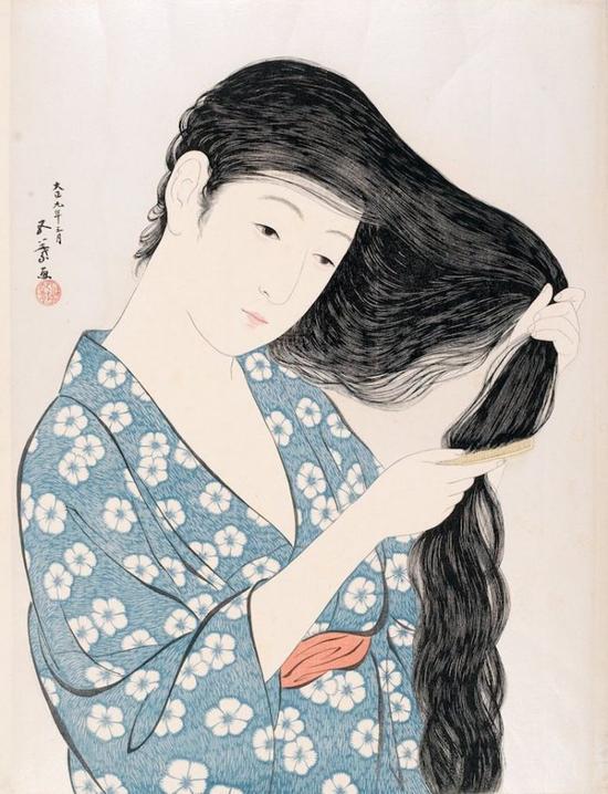 Hashiguchi Goyo, Combing Hair (1920) (Photo: via Wikimedia Commons)