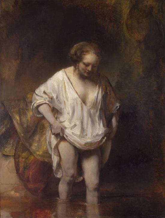 伦勃朗以亨德瑞克为模特创作的《浴女》