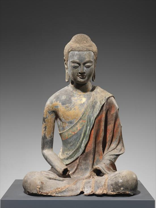 唐代,7世纪初,用颜料和镀金的空芯漆佛,大都会艺术博物馆,罗杰斯基金
