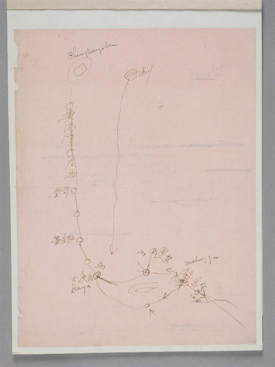 朱德手绘红军从井冈山至寻乌的战略形势草图
