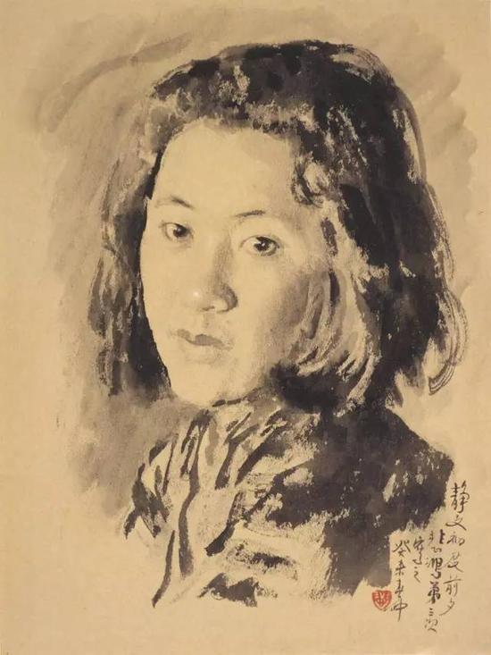 徐悲鸿画第二任妻子廖静文1943年素描徐悲鸿纪念馆藏