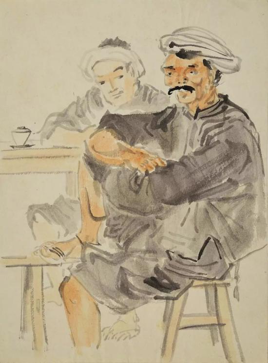 青城脚夫 约1940年 纸本淡彩