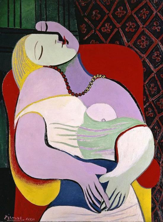 《梦》(The Dream),1932年,毕加索