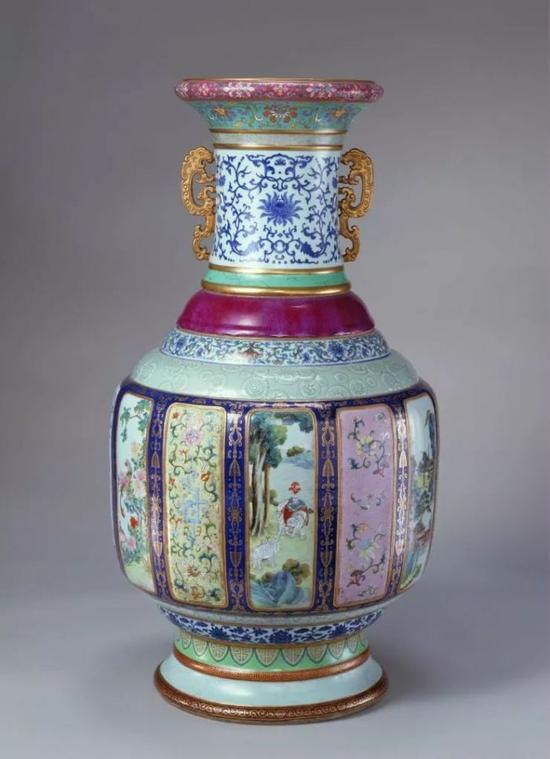 各种釉彩大瓶,清乾隆,高86.4cm,口径27.4cm,足径33cm。