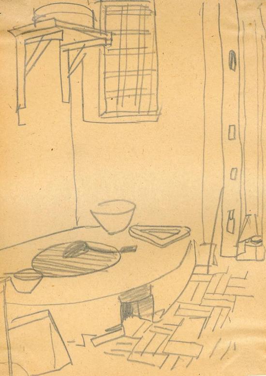 北京农舍锅台 1948年 纸本铅笔 18.1×13.1cm