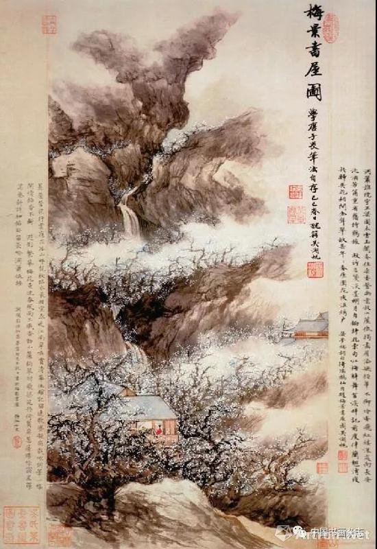 图1 吴湖帆梅景书屋图轴 纸本设色 上海博物馆藏