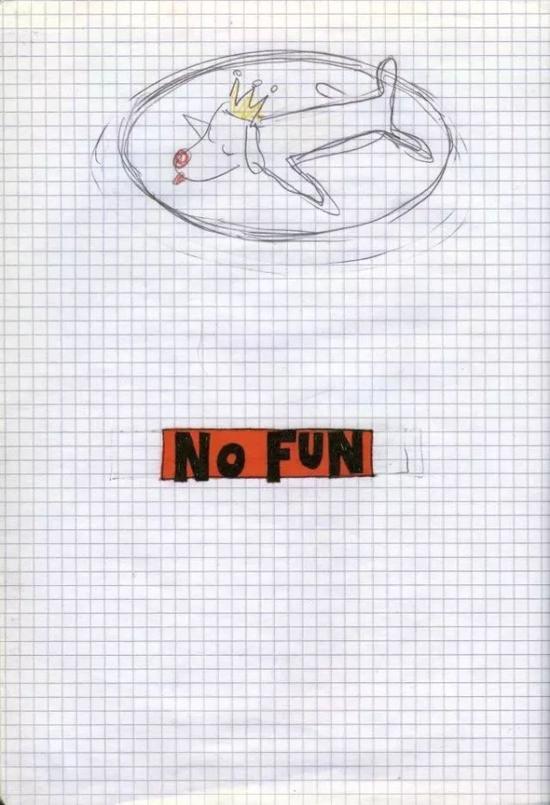 """奈良美智 《No Fun""""》,1992-2000年,他说,画画就像呼吸一样,常常用当时手边有的铅笔和原子笔画出来"""