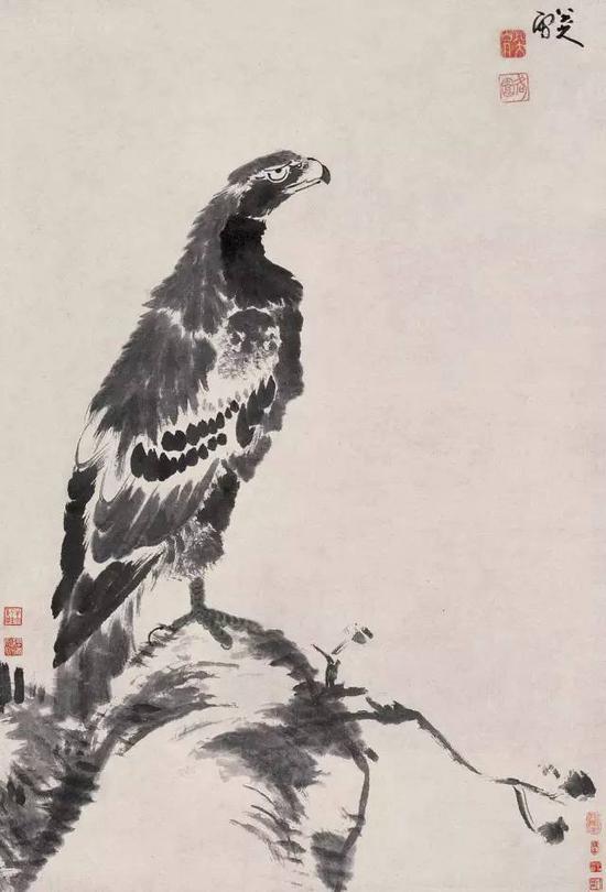 清 八大山人 独立睥睨图 立轴 水墨纸本 成交价1232万元