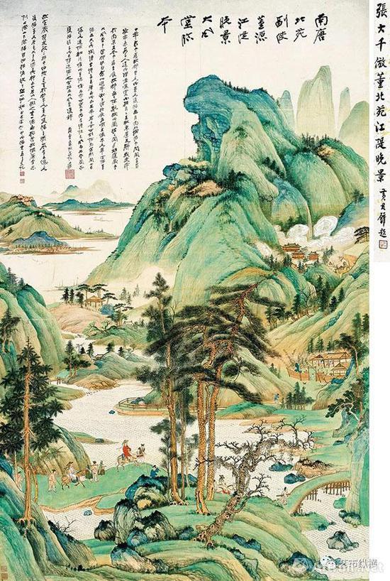 张大千 《江堤晚景》 187.5×120cm 丙戌(1946年) 成交价:RMB1.3225亿元 中国嘉德2017年秋季拍卖会