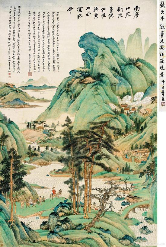 张大千《江堤晚景》以1.32亿元人民币成交,是其2017年最高作品单价