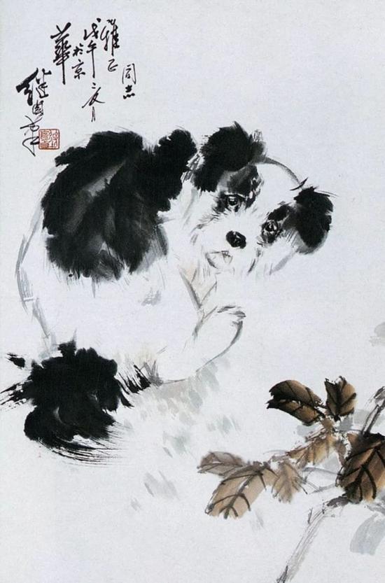 戊午(1978)年作 狗 立轴