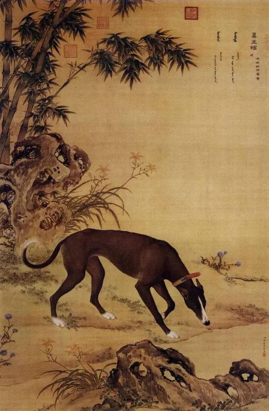 郎世宁《十骏犬之墨玉螭图》,螭,意即无角的龙。侍卫领班卫华进。