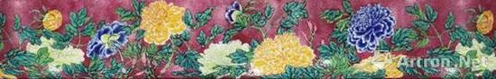 清康熙 御制珐琅彩胭脂紫地牡丹碗展开图