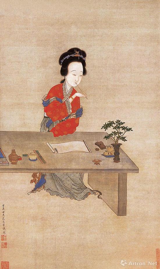 清 范雪仪《吮笔敲诗图》 天津市艺术博物馆藏:侍女在花笺上写信
