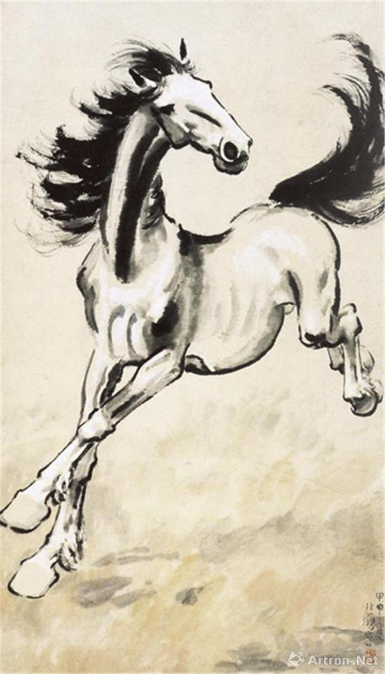 徐悲鸿《奔马图》 107.7cm×55cm 纸本水墨设色 1953年 中国美术馆藏