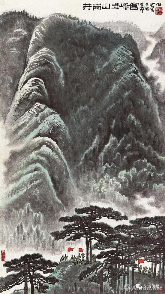 李可染?《井岗山主峰图》124×69 cm 成交价:RMB 3703万元 北京荣宝2017年秋季艺术品拍卖会