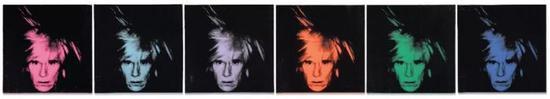 装置迪?沃霍尔 (1928-1987)《六幅己画像》 压克力 丝网印墨 画布匹(六联干)   每幅: 56 x 56 cm。   1986年干   估价待询