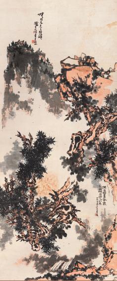 潘天寿(1897-1971)  无限风光  1963 年作  设色纸本 立轴  358.5×150 cm