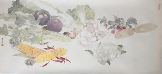 李明,珍味,纸本设色,42x93cm,2017