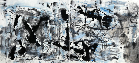 郑连杰作品《晨雾4号》,2018年,水墨丙烯,193 x 90 cm,?郑连杰工作室
