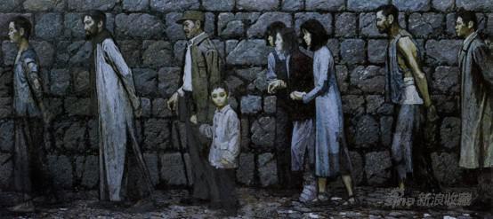 李天祥、赵友萍 《永恒的怀念》 《路漫漫》组画之一 178×400cm 布面油画1982年