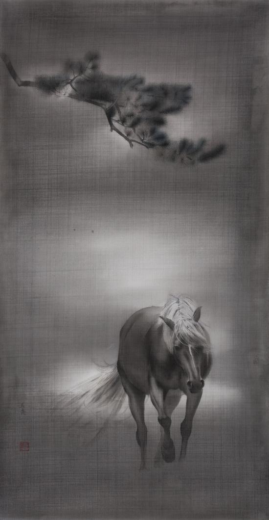 马俊,黎明将至-5,49cm×26cm,绢本水墨,2017年
