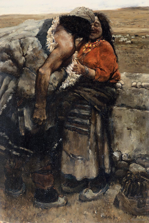 牧羊人 板上油畫 78.6x52.3cm1980年