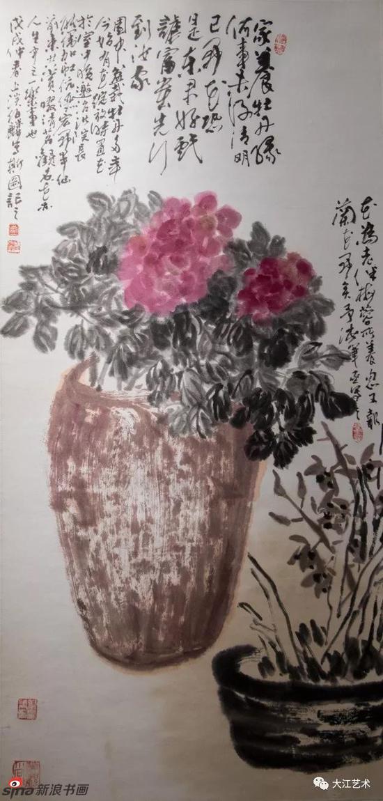 漆伯麟先生生前的最后一幅画作《牡丹图》
